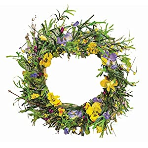 "CWI Gifts 20"" Artificial Mixed Pansy Wreath, Multicolored 96"