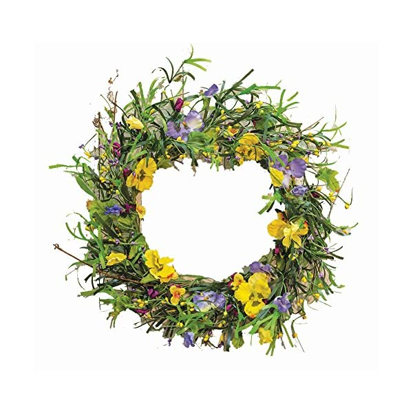 CWI Gifts 20″ Artificial Mixed Pansy Wreath, Multicolored