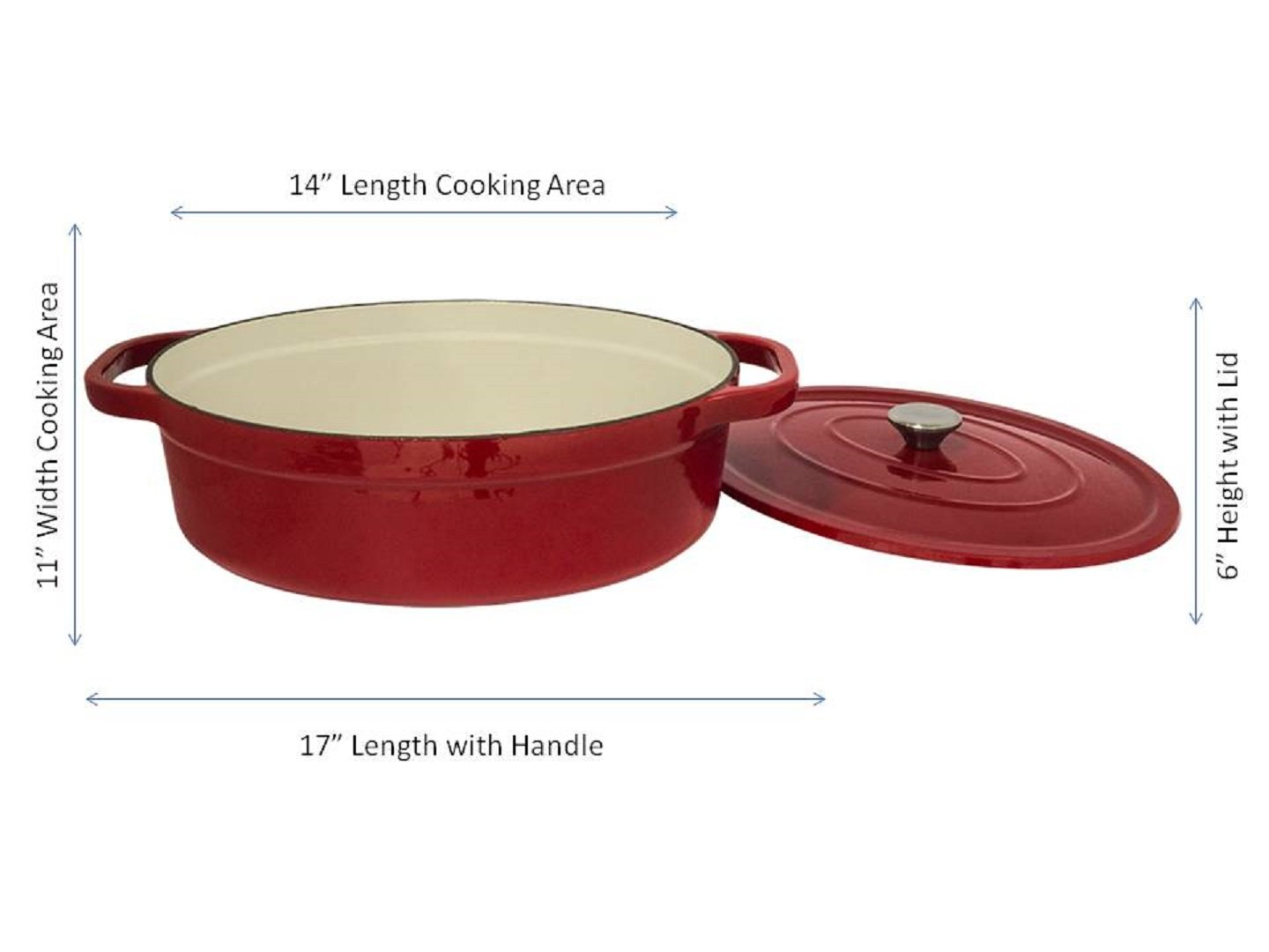 Useful UH-CI35 7 Quart Cast Iron Enamel Oval Covered Dutch Oven Casserole With Lid by Useful. (Image #2)