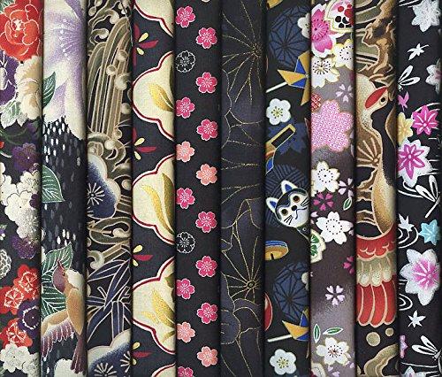 10 Black Asian Japanese Fat Quarter Quilt Fabric Bundle X...