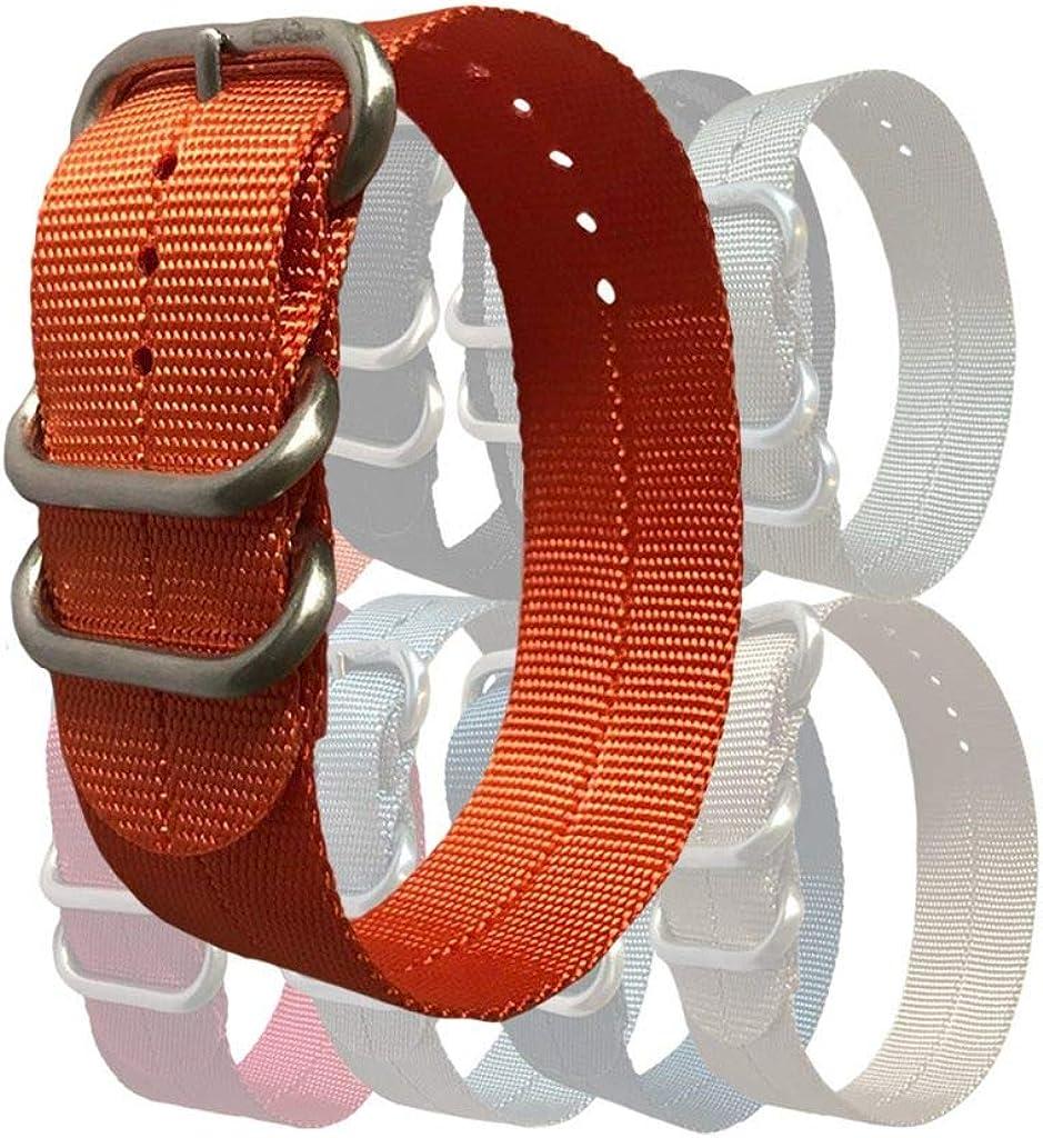 BluShark 3-Ring Single Pass Zulu-Style Nylon Watch Band Multiple Sizes and Colors