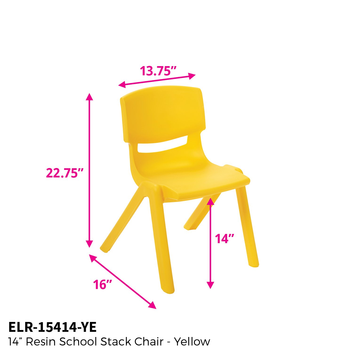 ECR4Kids 14'' School Stack Resin Chair, Yellow (6-Pack)