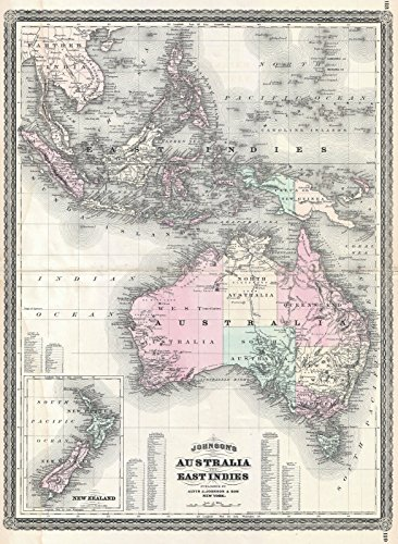 on Map of Australia, The East Indies, and Southeast Asia -, 1870 | Historical Antique Vintage Decor Poster Wall Art | 24in x 32in ()