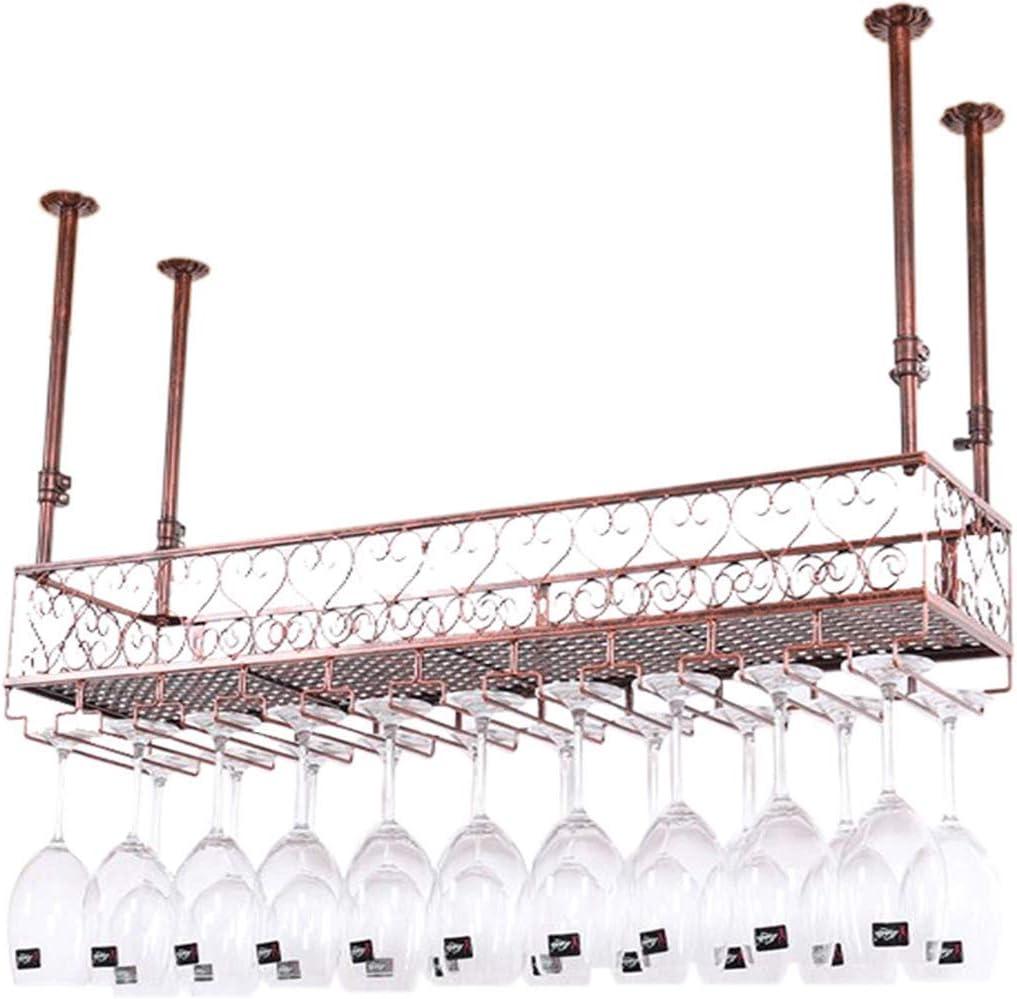 バーの茶色の金属ワインラック壁棚  ワインボトルホルダー壁掛けマウント調整可能な高さ  吊り天井のワイングラスホルダー  ステムウェアラック