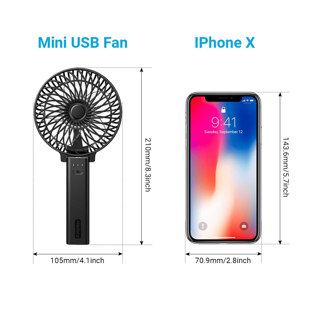 EasyAcc Mini Handheld fan USB Desk Fan with 4000mAh Rechargeable Battery Operated 23Hours 3 Speeds Quiet Powerful Personal Portable Folding Cooling Small Misting Fan for Stroller Travel Office Outdoor