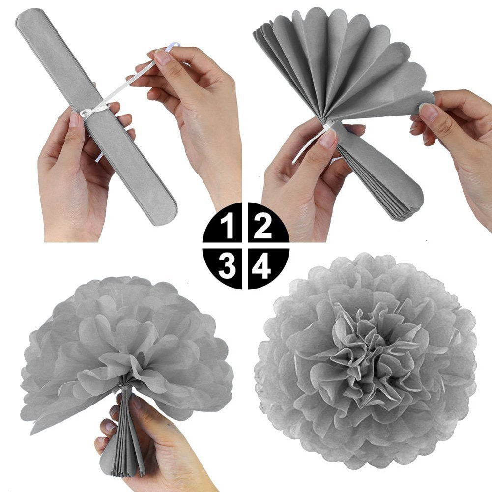 30pcs Black Silver and Gold Latex Ballon 60th Birthday Party Decorations Kit Gold Number 60 Ballon 9pcs Tissue Paper Pom Poms for 60 Years Old Party Supplies