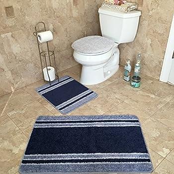 Amazon Com 3 Piece Bathroom Rug Sets Anti Bacterial