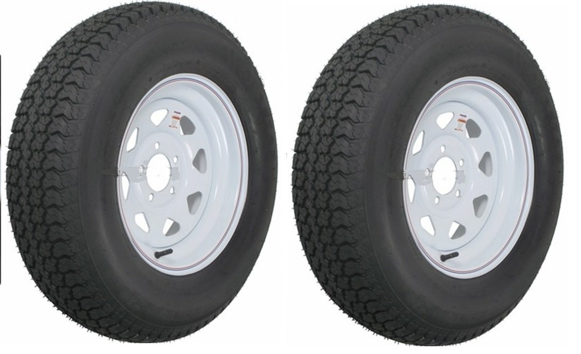 2 Heavy Duty Mounted Trailer Tires Rims ST205/75D15 205 75 15 LRD 5H White Spoke
