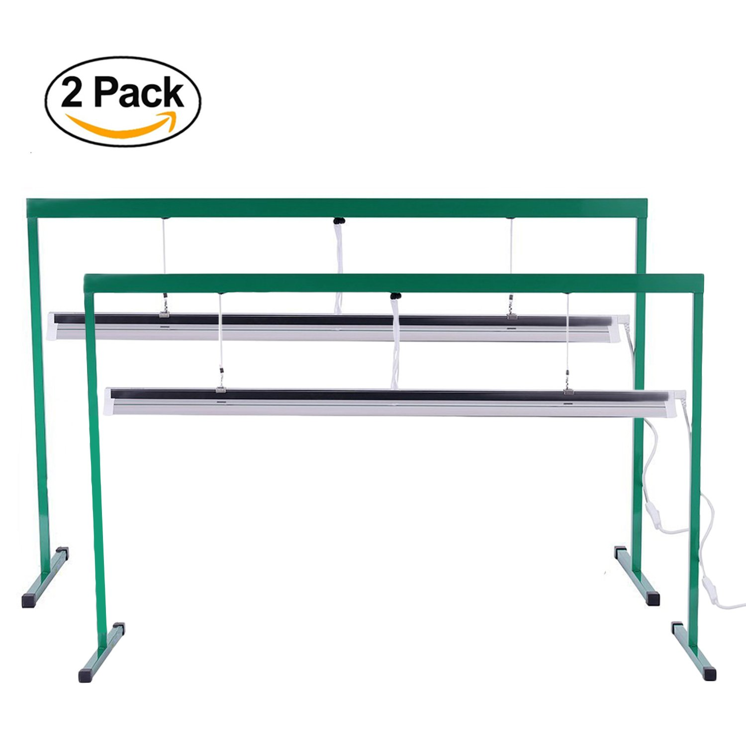 iPower 2-Pack 54W 4 Feet T5 Fluorescent Grow Light Stand Rack for Seed Starting Plant Growing, 6400K