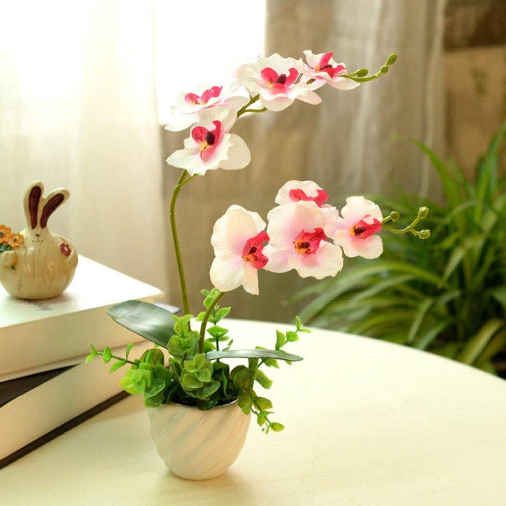 Lopkey Artificial Phaleanopsis Arrangement with Vase Decorative Silk Orchid Flower Bonsai, Pink