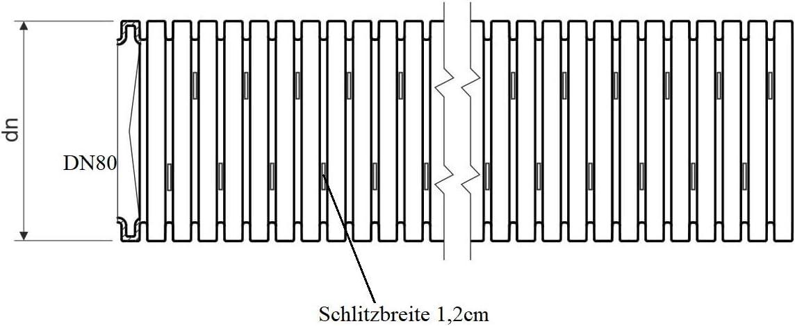 Entw/ässerungsrohr DN80 x 10m Drainagerohr Drainageschlauch schwarz Entw/ässerungsschlauch Drainage Drainrohr geschlitzt gelocht