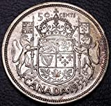 1955 Canada 80% Silver Half Dollar (50 cents) - Royal Coat of Arms - Great Condition (Grade Range VF to AU) - GREAT GIFT IDEA / STOCKING STUFFER - INCREASES IN VALUE OVER TIME!