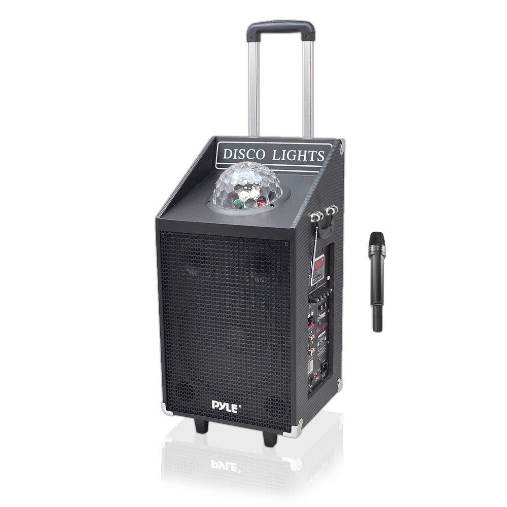PYLE PWMA1594UFM 600W Bluetooth Speaker System with USB/SD Readers, FM Radio, AUX Input, Wireless Mic