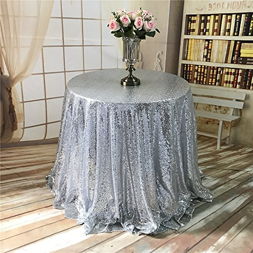 (TRLYC 72-Inch Round Cake Silver Sequin Table Cloth for Wedding Party Banquet)