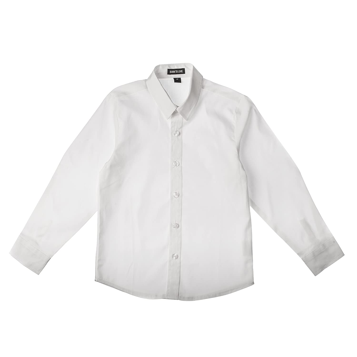Wedding Baptism Birthday Boys White Button-Up Shirt /… Born to Love