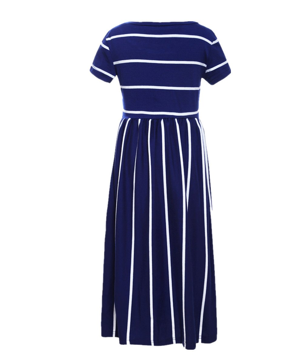 KIDVOVOU Girls Striped Short Sleeve Casual Long Maxi Dress with Pocket Size 4-13,Blue,12-13years by KIDVOVOU (Image #2)