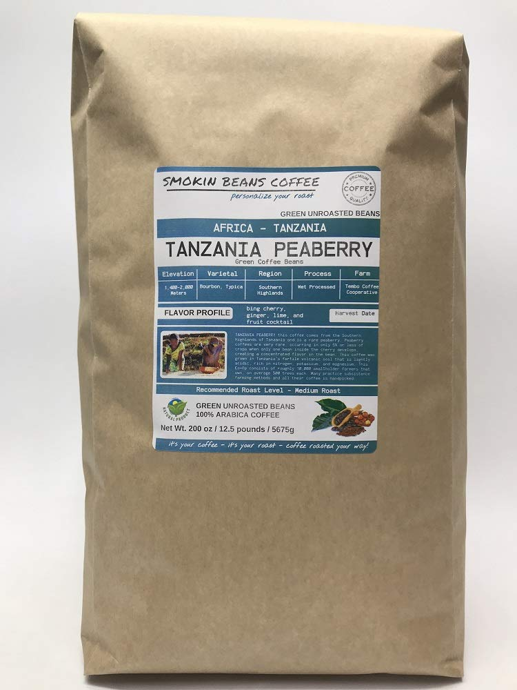 12.5 Pounds - Southern Africa - Tanzania Peaberry - Unroasted Arabica Green Coffee Beans - Grown in Southern Highlands - Altitude 1400-2000 M - Drying/Milling Process Wet Processed by Smokin Beans