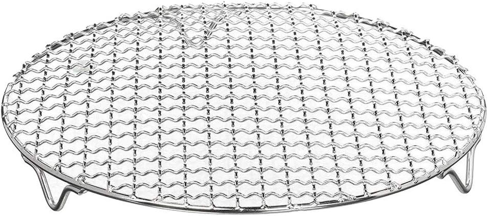 Gaoominy Parrilla de Barbacoa de Acero Inoxidable Cruzada Redonda Multiusos RefrigeracióN al/Parrilla de CarbóN/Parrilla/Rejilla con Patas (8,25 Pulgadas de DiáMetro) 1 Paquete