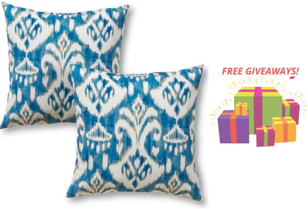 Greendale Home Fashions 17 in. Square Outdoor Throw/Accent Pillow Seaside Ikat, Set of 2 with More Exciting Give-aways