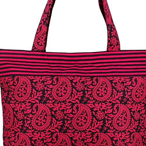 Multiuso nero rosa Shopping Bag - Borsa in cotone Borsa con chiusura a cerniera e doppi manici