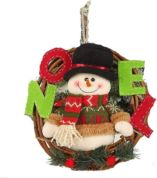 XONOR Christmas Wreath for Front Door 23cm Door Wreaths Christmas Home Door Hanger Wall Car Decoration Snowman