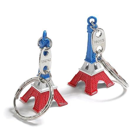 trixes Juego de 2 Novedosos Colgantes de Llavero Torre Eiffel Tricolor Azul Blanco Rojo Accesorio Emblemático de París para el Día de la Bastilla y ...