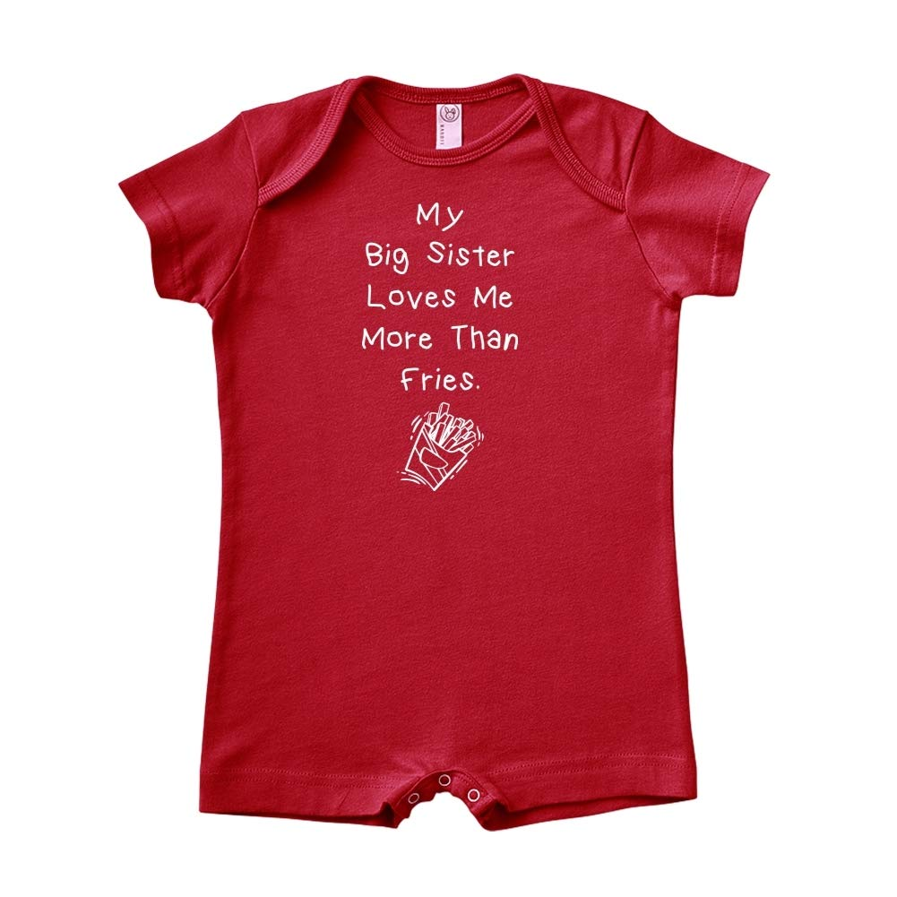 My Big Sister Loves Me More Than Fries Baby Romper