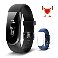 Fitness Tracker Activity Tracker Fitness Watch Heart Rate Monitor Pedometer Sleep Monitor Smart Bracelet Waterproof with Calories Counter, Call/SMS Reminder, Swimming, Music/Camera Remote Control