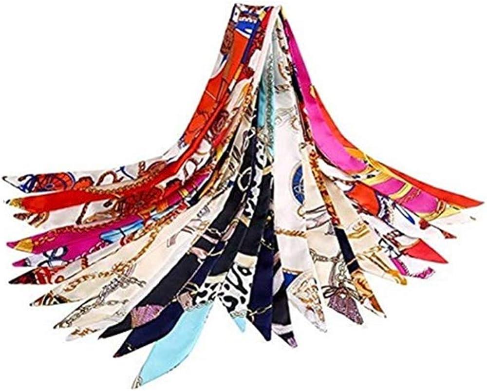 Comius Sharp Seta Sciarpa 12 Pezzi Donna Scarf Ragazze Moda Fascia per Capelli Sciarpa Colore Headwear Nastro Donne Moda Leggero Morbido Confortevole