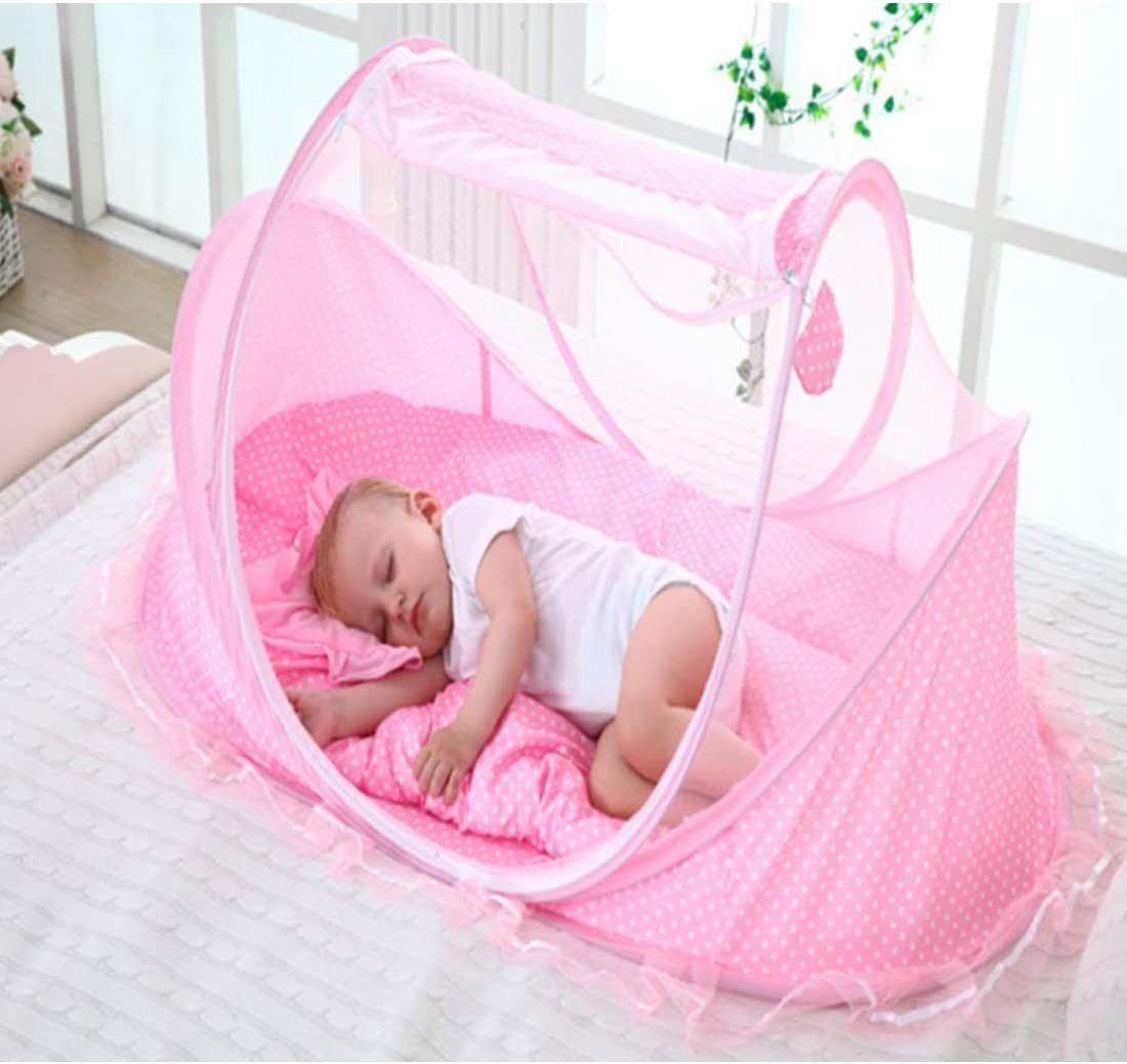 Childrens Travel Cots with Mattress and Pillow for 0-3 Years BANDRA BANDRA Mosquito Net Baby Cot