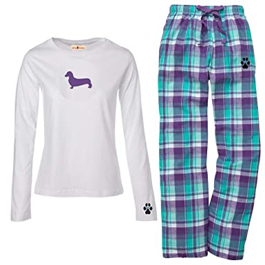 3a9a719b34c4 Amazon.com  YourBreed Clothing Company Dachshund Miniature Ladies Flannel  Pajamas.  Clothing