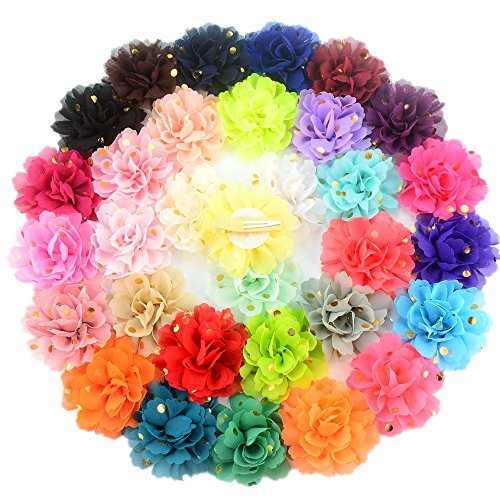Gold Flower Clip - YIYI 32 Colors Flower Girls Hair Clips And Bows Gold Dot Flitter Hair Barrettes Accessories for Babies Toddlers Little Girls Teens Pack of 32