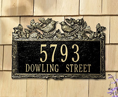 2 Lines Custom Woodland Wren Standard Wall Address Plaque (15.5 inches Wide by 10 inches High) ()