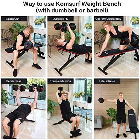 Komsurf Adjustable Weight Bench Press, Foldable Workout Bench for Home Gym, Full Body Workout Strength Training, Exercise Equipment Body Gym System 4