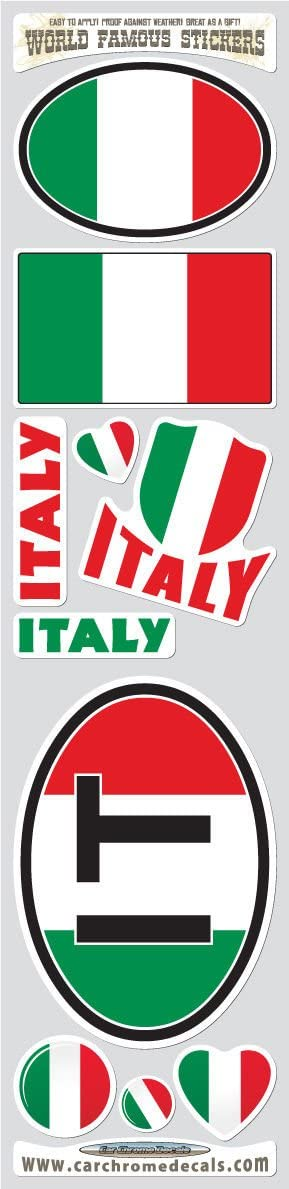 Car Chrome Decals STS-IT Italy 10 Stickers Set Italian Flag Decals Bumper stiker car auto Bike Laptop