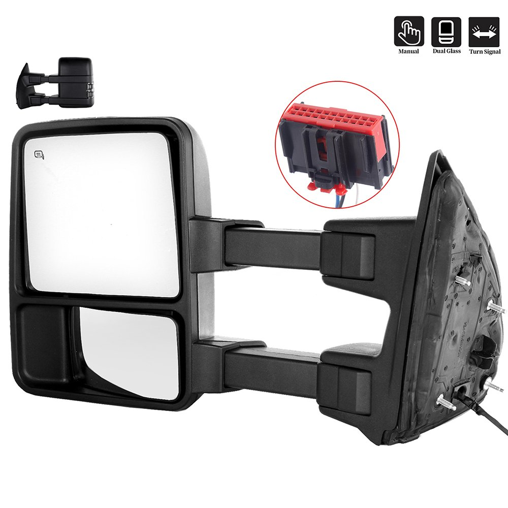 SCITOO Ford Towing Mirrors Left Side Rear View Mirrors fit 2008-2016 Ford F-250 F-350 F-450 F-550 Super Duty with Manual Control Heated Manual Telescoping Manual Folding and Turn Signal Light Feature