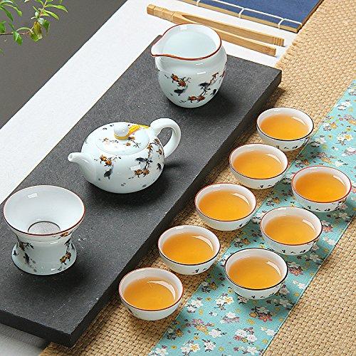 SSBY Kung Fu tea sets porcelain ceramic Lidded-Cup Teacup teapot tray combo,Lotus in taste (pot)