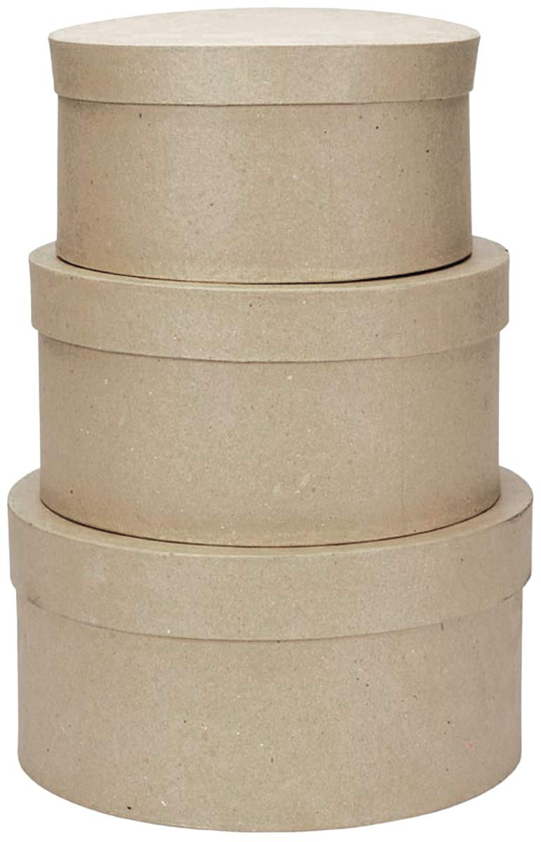 Paper Mache Round Box Set 3/Pkg 4'', 5'' & 6'' Diameters 3/ Pack (8 Pack)