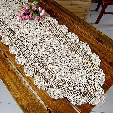Toallas de té de la flor de ganchillo de juego hecho a mano Camino de mesa