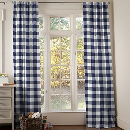 Carousel Designs Navy and White Buffalo Check Drape Panel 96-Inch Length Standard Lining 42-Inch Width by Carousel Designs