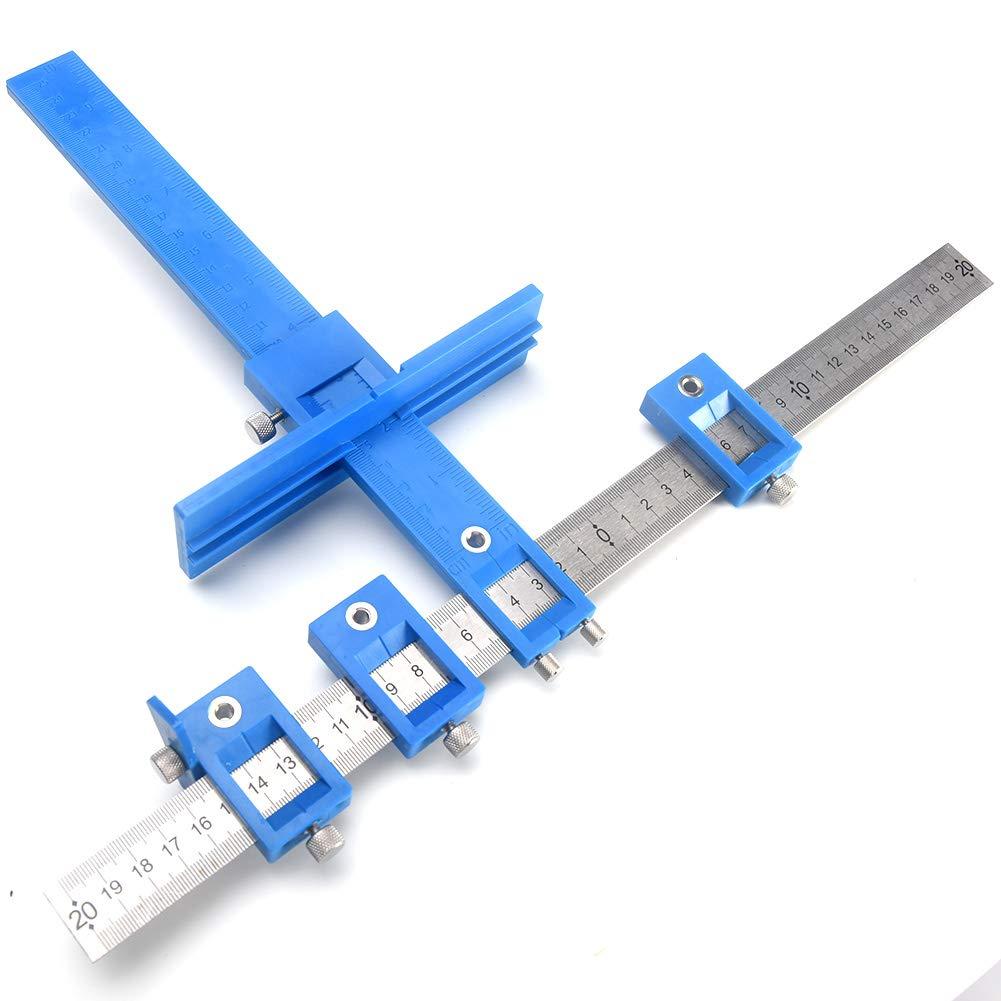 perceuse Punch Locator guide de per/çage r/églable manches Cabinet mat/ériel Jig de tiroir Jig Wood per/çage chevilles Long Scie-cloche Syst/ème Ma/ître