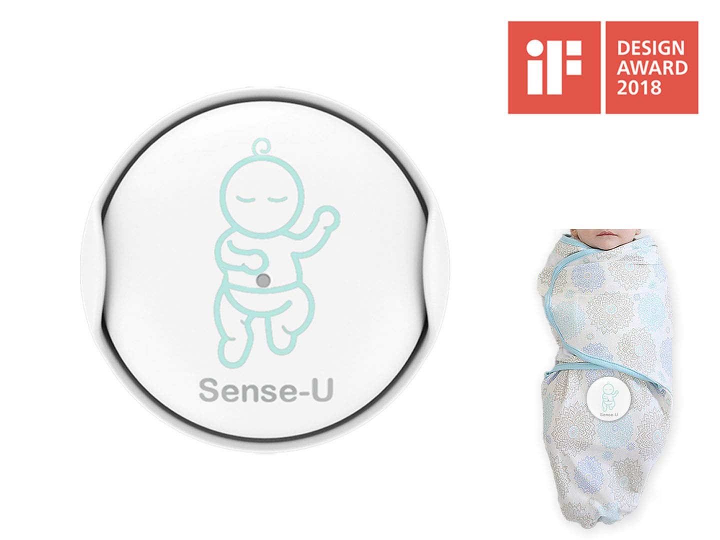(2018 New Model) Sense-U Baby Breathing & Rollover Movement Monitor with a Free Swaddle(Small, 0-3m): Alerts You for No Breathing, Stomach Sleeping, Overheating and Getting Cold SU-SWA