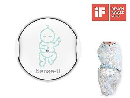 Sense-U Swaddle manta con monitorizar de movimiento de respiración integrado, estómago para dormir