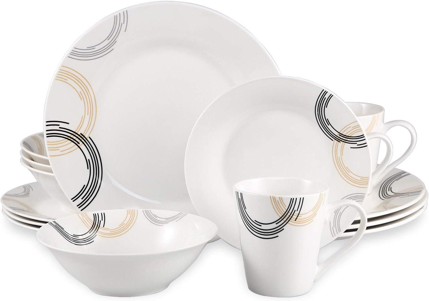 Tasses Imprim/é 1 Cutiset Service de Table 16 pi/èces pour 4 Personnes Vaisselle en Porcelaine avec 4 Assiettes /à Dessert Bols