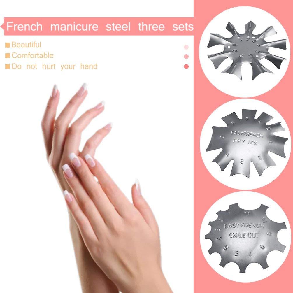 Set Placas de Modelado de manicura Francesa de Acero Inoxidable de Metal Duradero Placas de Estampado de fabricaci/ón de u/ñas de Cristal Deniseonuk 3PCS