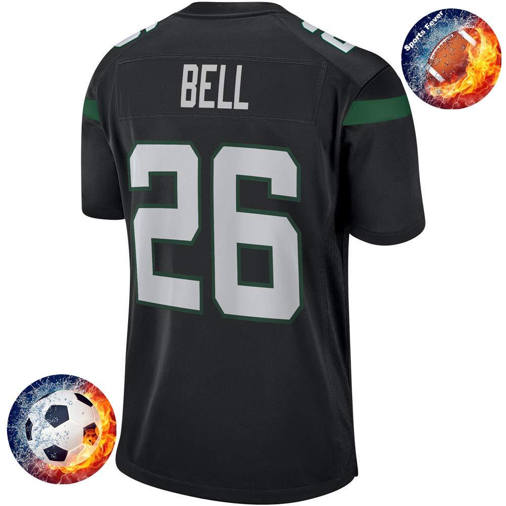Fabric Fit Kurzarmhemden Herren/Damen Bell NO.26 NY Jets Fans Sportkleidung T-Shirt Atmungsaktiv Fußballtrikots Schnell Trocken Jersey Heimtrikot