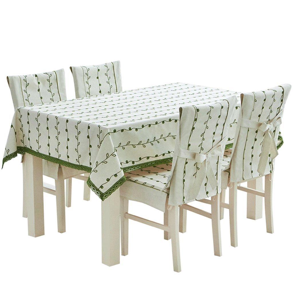 テーブルクロス、綿、麻の長方形の耐久性は刺繍された防水グリーンを褪色させないでください (サイズ さいず : 140*220cm) 140*220cm  B07RPV6D5V