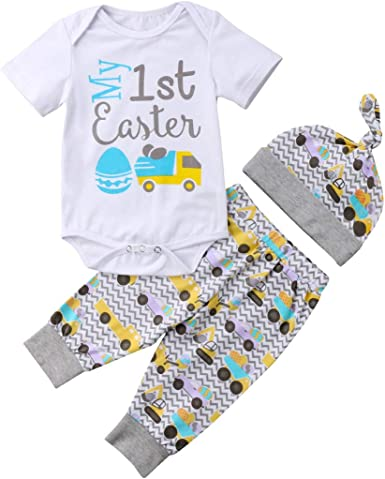 3PCS Baby Kids Girls Boys Summer Clothes T-shirt Rompers+Pants+Hats Outfits Set