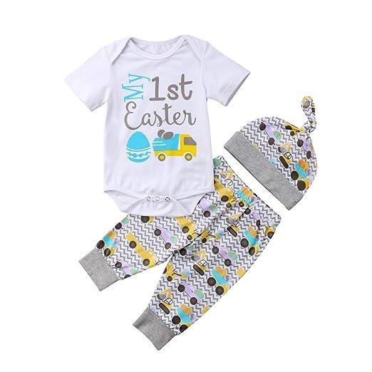 c13d39238e1b 3Pcs Baby Girls Boys My First Easter Clothes Set Eggs Romper Bodysuit+ Pants +Hat Outfits