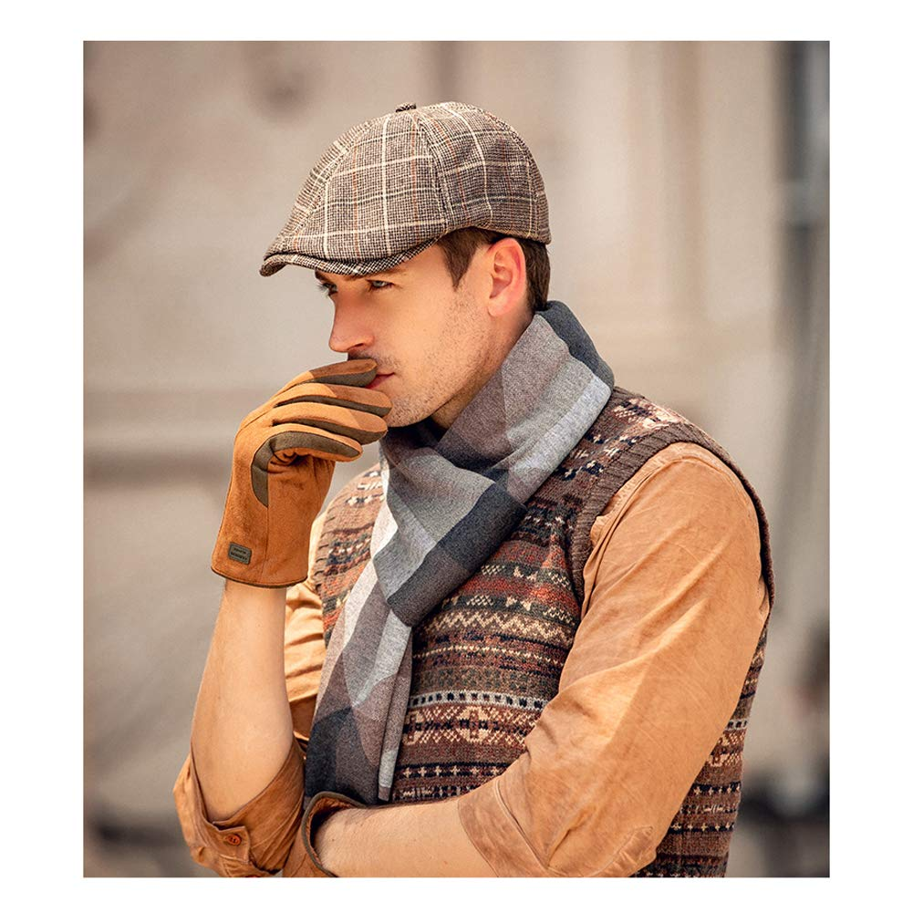 WETOO Mens 6 Panel Blend Beret Newsboy Flat Cap Cotton Herringbone Tweed Beret Irish Caps Men